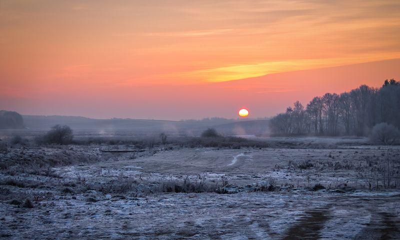 рассвет, зима, иней, морозное утроphoto preview