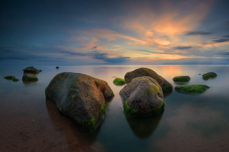 #панорама #пейзаж #море #закат #камни #длинная #выдержка После закатаphoto preview