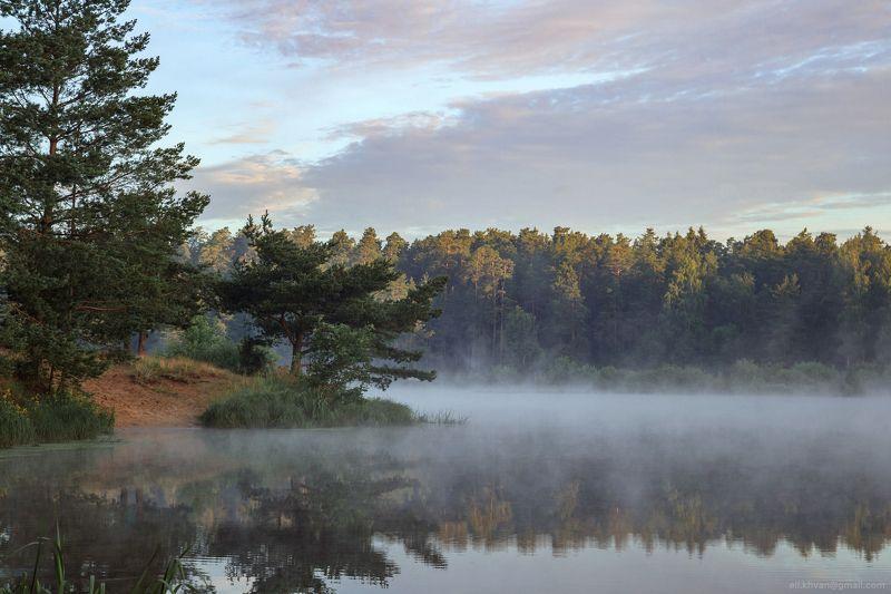 Россия, Подмосковье, пейзаж, природа, туман, утро, рассвет Озеро Нерскоеphoto preview