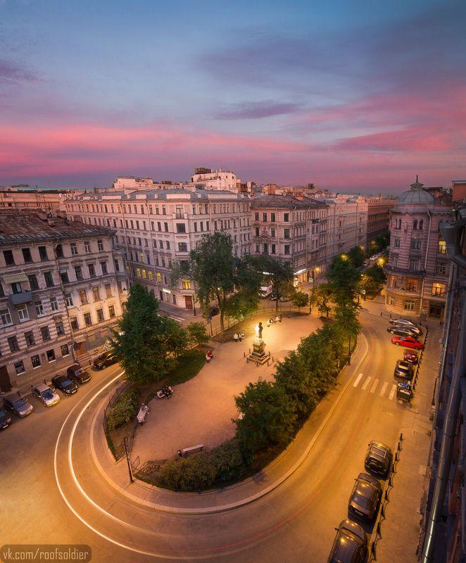 Петербург, крыша, закат, сквер, лето, Санкт-Петербург, архитектура Пушкинский скверphoto preview