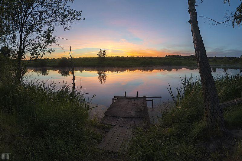 закат, пруд, отражения, лето, мостик, Мостикphoto preview