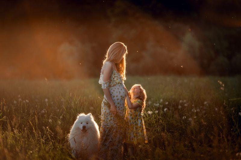 мама, дочь, в ожидании, беременность, семья, собака, лето Нежностьphoto preview