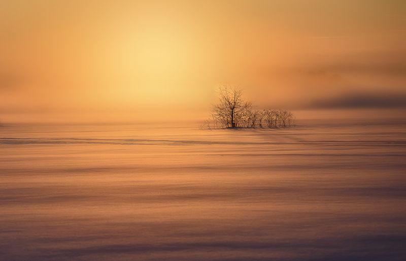 восход, зима, река, пар Восходphoto preview