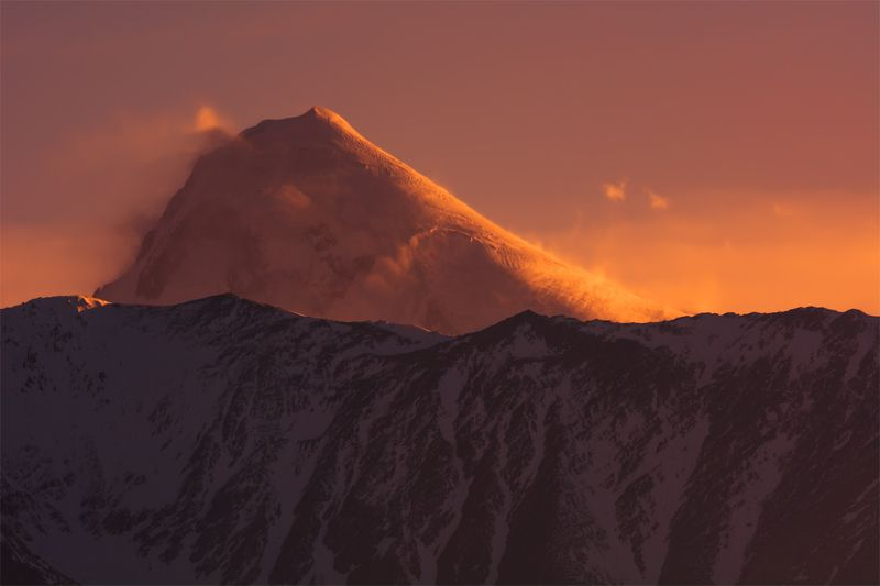 природа, пейзаж, кавказ, горы, весна, вечер, панорама, закат, солнце, небо, облака, свет Казбекphoto preview