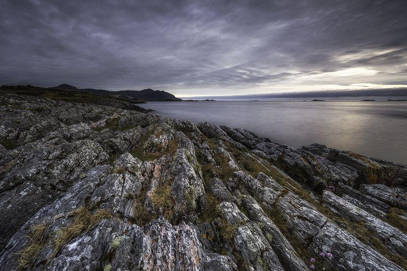 landscape, midnight, norway, atlantic ocean road, rocks, seacape Rocky Nightphoto preview