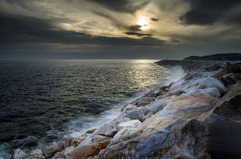 landscape nature seascape sunrise rocks castal coast beach sea seaside long exposure scenery tasos A late sunset, Limenariaphoto preview