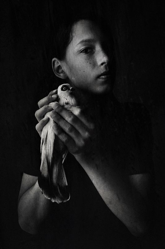 Boy with pigeonphoto preview
