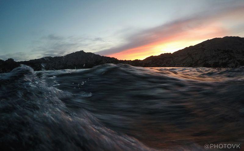 Закат, Море, Горы Закат на озере Шалкарphoto preview
