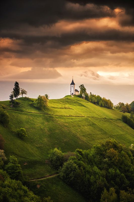 mountains, slovenia, church, mountains, architecture, sun, sunrise, clouds, sky, europe, alps, Heavenphoto preview