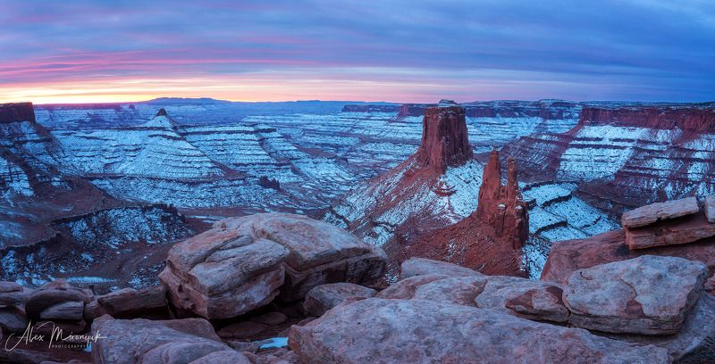 сша, юта, каньонлендс, панорама, закат, река, скалы, небо, горы, свет, путешествие, фото-тур Marlboro Pointphoto preview