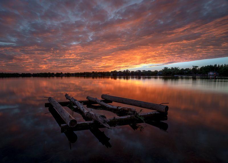 raft, lake, sunset, clouds, reflection, evening, плот, озеро, закат, облака, отражение, вечер Raftphoto preview
