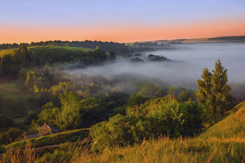 природа, пейзаж, утро, туман, лето Утренняя магияphoto preview