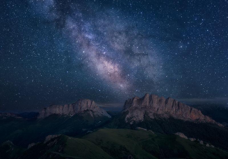 landscape, пейзаж, sunset, адыгея, млечный путь, ночь Млечный Путь над \