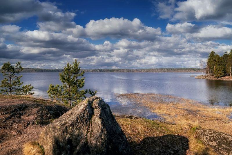 пейзаж,озеро,камни,облака,отражения Летний день.photo preview