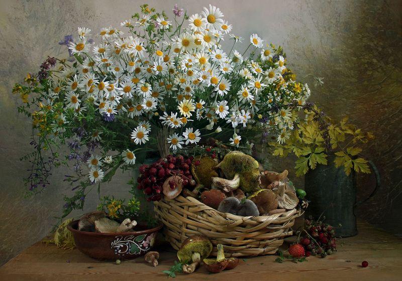 натюрморт, цветы, марина филатова, грибы, лето, грибная пора Летняя пораphoto preview