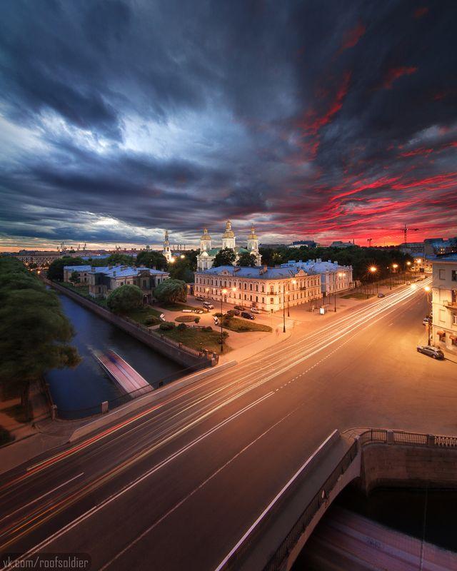 санкт-петербург, выдержка, крыша, пейзаж, закат Ново-Никольскийphoto preview