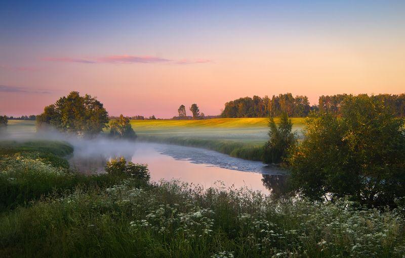 лето, рассвет, река, дымка, photo preview