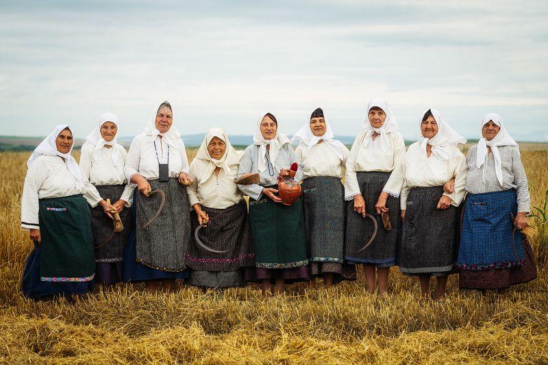 Harvest Portrait of nine harvestersphoto preview