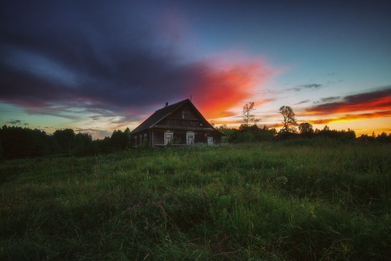 landscape#sunset#house#summer Закат в Нирзе !photo preview