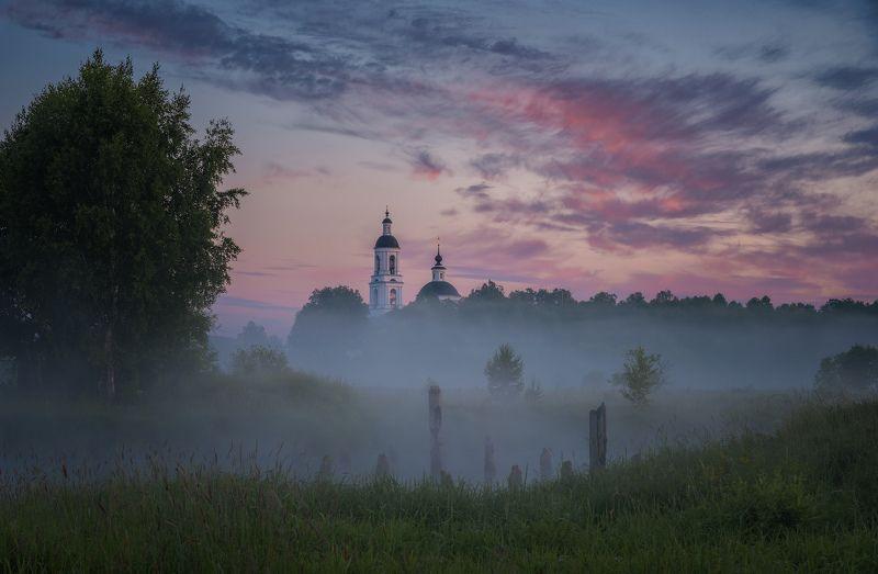 рассвет, природа, река, утро, вода, туман Летним утромphoto preview