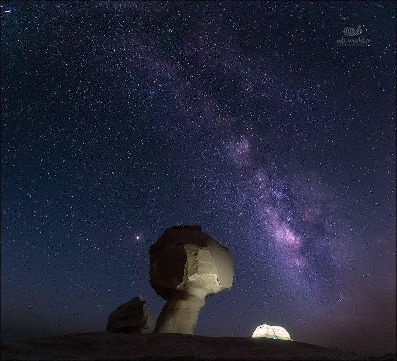 Египет, белая пустыня, ночная фотография, ночь, пейзаж На связи со вселеннойphoto preview