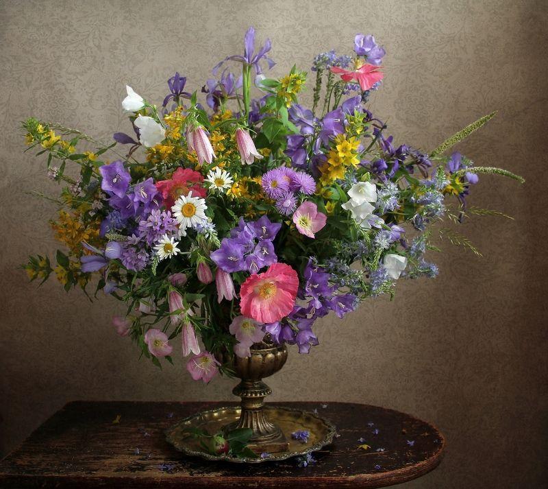 натюрморт, цветы, марина филатова, лето, букет цветов Звон Волшебных Колокольцевphoto preview