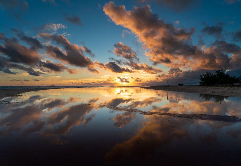 sunset, ocean, lagoon, beach, clouds, sun, evening, reflection, закат, океан, лагуна, пляж, облака, солнце, вечер, отражение Punta mal Tiempo IIphoto preview