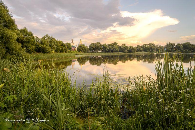 пейзаж,природа,храм,россия,вечер,закат,отражение,красота Благодатьphoto preview
