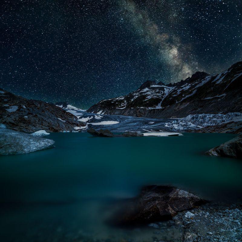 switzerland,rhone glacier,long exposure,stars,lake,aisbergs,stone,mountains,glatcier stars over glacierphoto preview