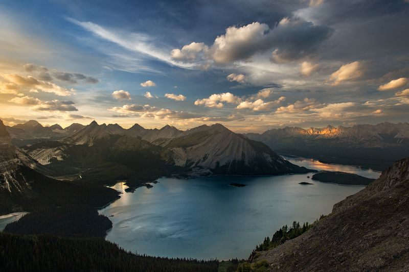 kananaskis lake sunset mountains canada Закат над озеромphoto preview