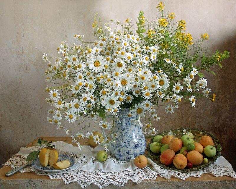 натюрморт,фрукты, марина филатова, лето, ромашки ***photo preview