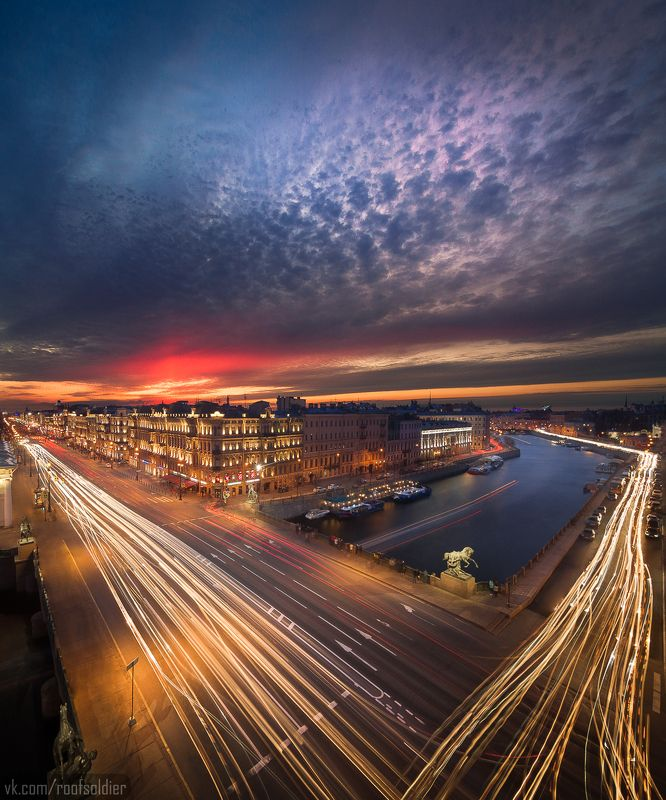 Выдержка, город, крыша, закат, Петербург, пейзаж Рекиphoto preview