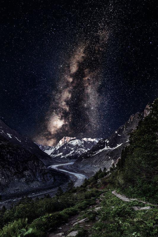 France,Mer De glace,mountains,stars,glacier,night,trees,travel,chamonix mer de glacephoto preview