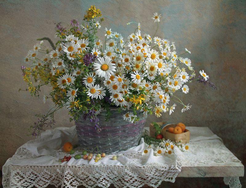 натюрморт, цветы, марина филатова, лето, ромашки, букет цветов Лучами солнца обогретыphoto preview