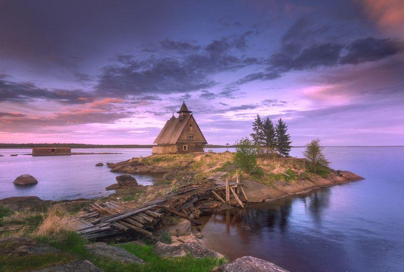 Россия, север, пейзаж, закат, море Домик у моря....photo preview