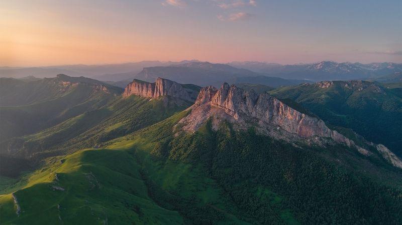 западный кавказ ачешбок рассвет июнь коптер Полеты во снеphoto preview