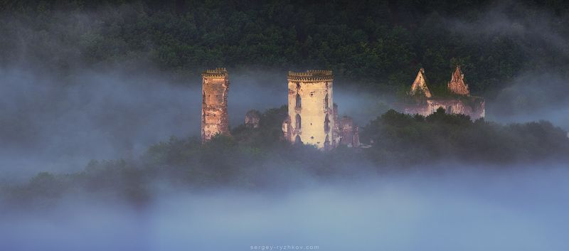 украина, замок, панорама, природа, история, ukraine, castle, panorama, Руины Червоногородского замкаphoto preview