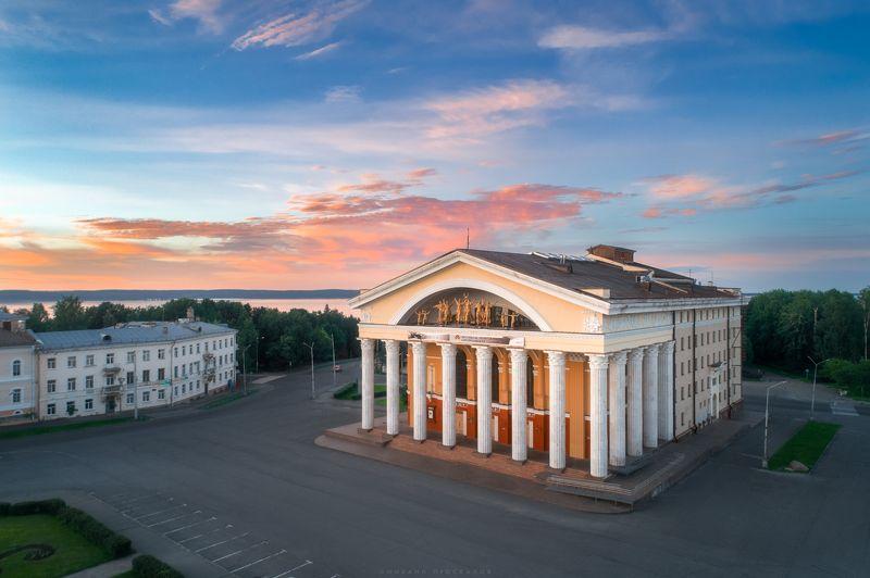 Аэросъемка, архитектура, закат Театр в Петрозаводскеphoto preview