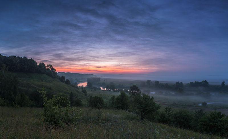 Рассвет, утро, пейзаж, природа,  река, туман Утро на Лихвинском разрезе photo preview