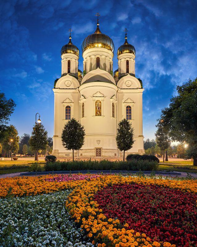 пушкин, екатерининский собор, подсветка Екатерининский собор в Пушкинеphoto preview