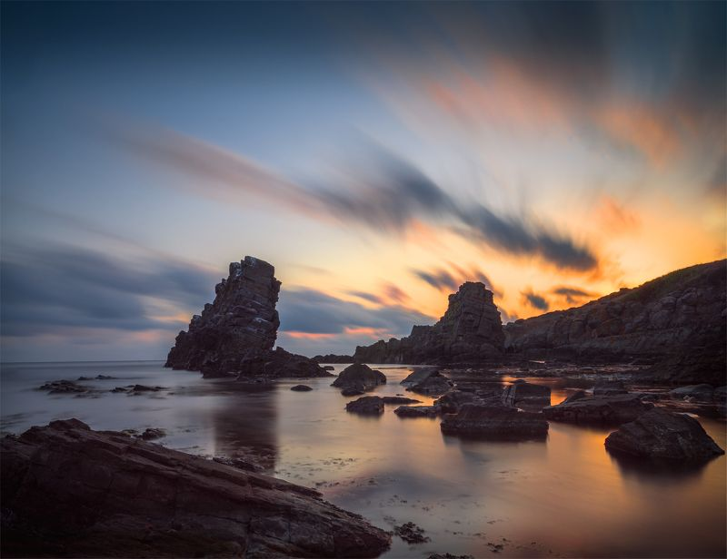 landscape nature seascape rocks castal coast beach sea seaside long exposure scenery  sunrise cloudy bulgaria One sunrise there..photo preview