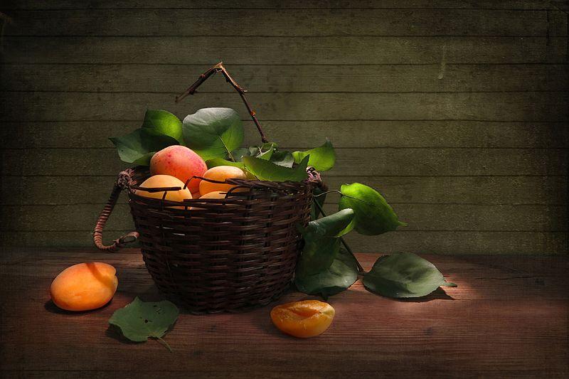 корзина,абрикосы,божья коровка Спелые абрикосыphoto preview