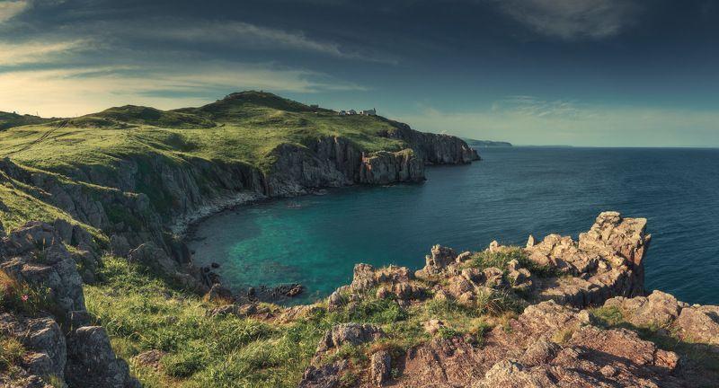 панорама, море, вечер, лето, скалы, маяк ***photo preview