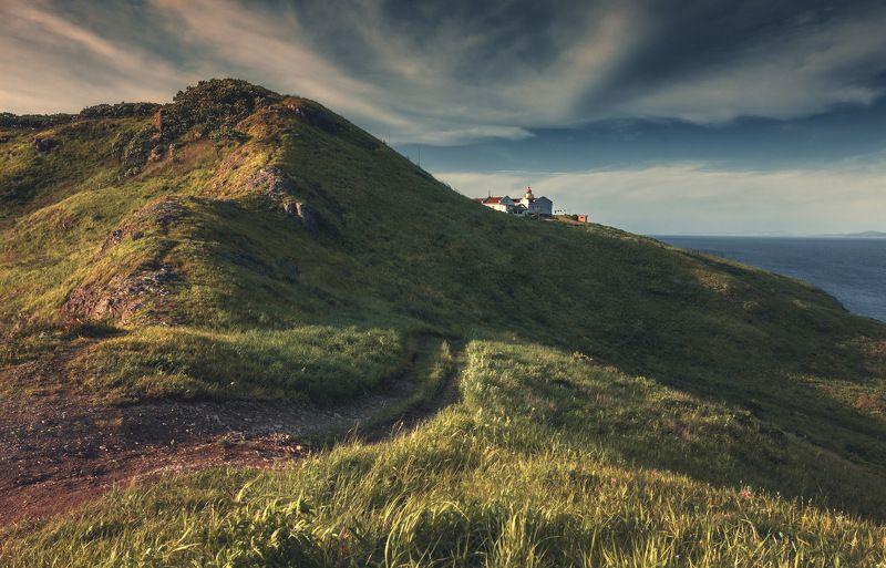 лето, закат, море, скалы, маяк ***photo preview
