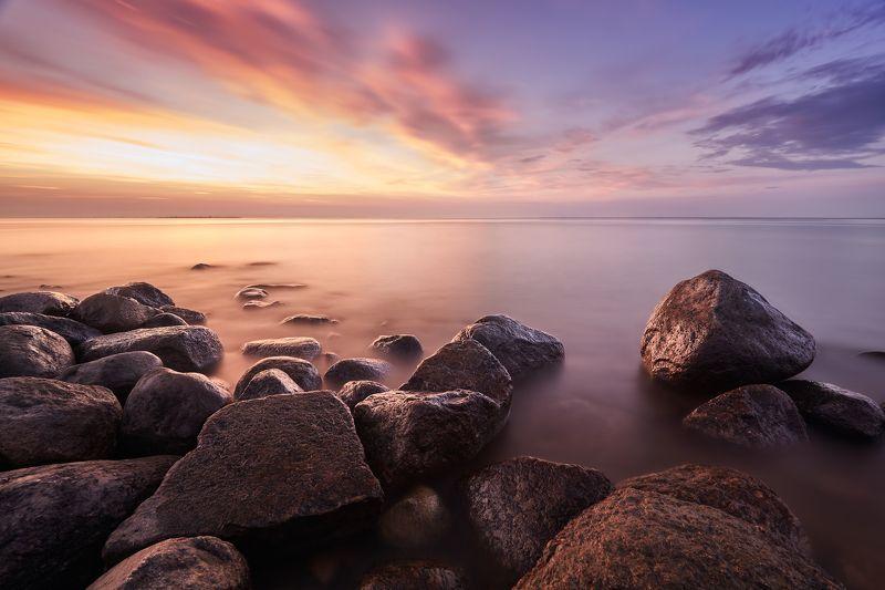 финский залив, закат, морской пейзаж, вода О чём молчат камни, когда солнце садится?photo preview