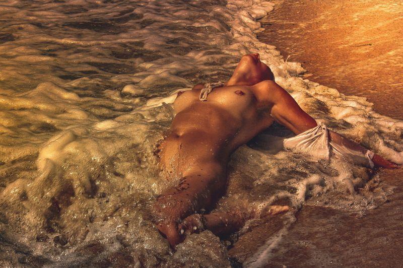 девушка, море, закат, вечер... \