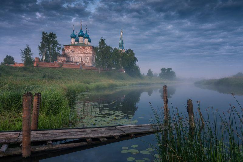 утро, рассвет, природа, туман, река, дунилово Утро на Тезеphoto preview