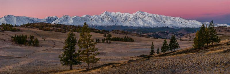 природа, пейзаж, осень, сибирь, алтай, горы, утро, рассвет, восход, курай, степь, вершины, снег, деревья, путешествие, туризм Занималась алая заряphoto preview