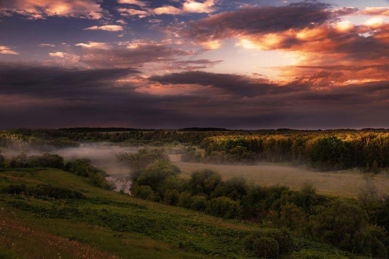 пейзаж, закат, лето, туманы Там, где рождаются туманыphoto preview