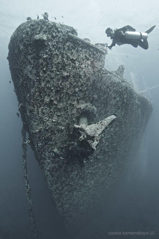 wreck thistlegorm underwater ship bow SS Thistlegorm #2. Нос корабля.photo preview